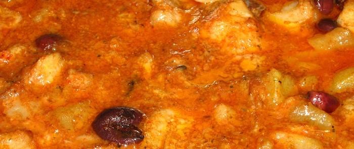Secondo piatto: Baccalà in salsa di vongole ed olive