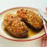 Una facile ricetta vegetariana: le melanzane ripiene di riso