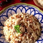 Primo piatto: Risotto di castagne e speck
